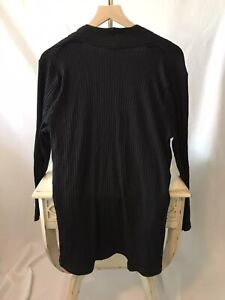 Eileen Fisher Black Cardigan  Open Front Loose Weave Size PL