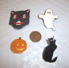 HALLOWEEN NOVELTY PINS LOT / 4 - CAT, GHOST, PUMPKIN,  CAT FACE - NEW