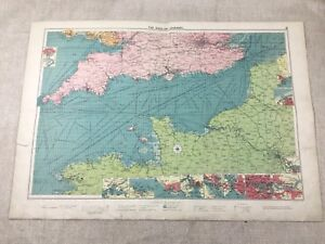 1920 Vintage Map of The English Channel  Maritime Steam Ship Routes Large