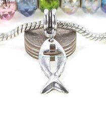 Christian Fish Symbol Cross Cutout Dangle Large Hole for European Charm Bracelet