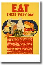 Healthy Eating Vintage WPA Food Art Print POSTER