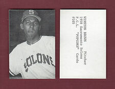 1958 PCL Popcorn: #105 WINSTON BROWN, Sacramento Solons (ca.1974 Ed Broder)