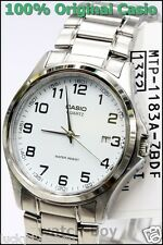 MTP-1183A-7B White Casio Watch Stainless Steel Band Date Display Analog Japan