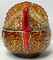 Decorative Ceramic Thanksgiving Turkey Candy Bowl With Lid