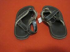GAP Baby Boy Brown Faux Leather Braid Strap Slippery Resist Slip-on Sandals Sz 9