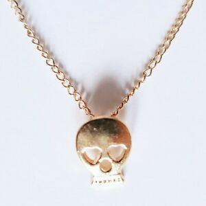 Gold Metal Delicate Small Skull Necklace Chain Goth Gothic Simple Minimalist