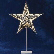 Konstsmide 2953-722 Tischlampe Papier Stern weiß/schwarz Holzfuß 69 x 46 cm