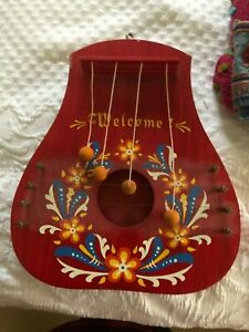 Sweden Red Wooden Entry Door Harp Chime Hand Painted WELCOME