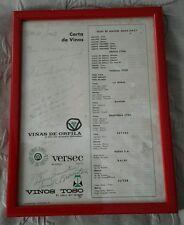 Carta de Vinos Dec 21 1967 Framed Wine List Vinos Orfila Toso Versec Signed Red