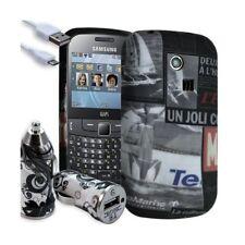 Housse Étui Coque en Gel + Chargeur Voiture Auto pour Samsung Chat 335 avec moti