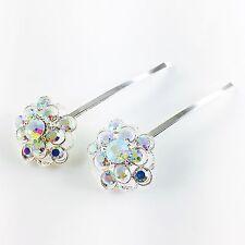 USA Bobby Pin Rhinestone Crystal Hair Clip Hairpin Jeweled Charming Silver AB 8