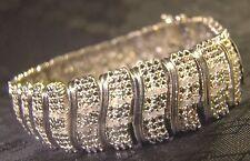 """Pretty 156 Stone Genuine Diamond Wide S Link Silver 7.5"""" Bracelet Sparkly"""