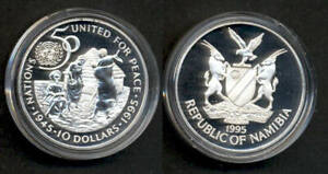 NAMIBIA UN 50 year anniversary. Silver proof coin.