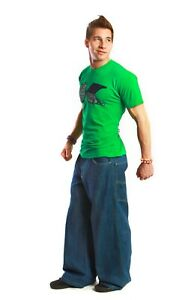 "26"" Wide Bottoms Kikwear Indigo Denim Stash Pocket Pant Unisex"