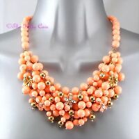 Pale Coral Orange Gold Summer Chic Beaded Cluster Bib Collar Statement Necklace