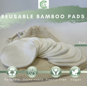 Make-up Remover Pads 12 Reusable Bamboo Cotton Washable Face Pads With Wash Bag