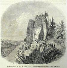 RATHEN - BASTEI - Weg zur Bastei - Freeman - Holzstich 1850