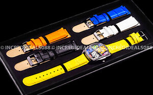 Invicta Men GRAND LUPAH BRITTO Ltd Ed Black Yellow 41mm Watch 5 Leather Straps
