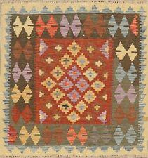 3'x3' Geometric Turkish Kilim Rug SQUARE Hand-Woven Oriental Wool Kitchen Carpet