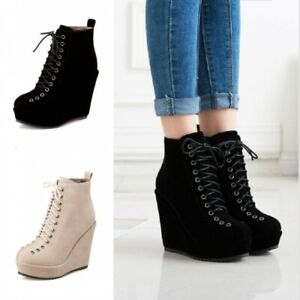 Women's Wedge High Heel Platform Lace Ups Warm Lining Ankle Boots Casual Shoes