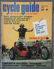 1968 FEBRUARY CYCLE GUIDE MAGAZINE GRABOWSKI CUSTOM BRONCO MINIBIKE TRIUMPH