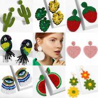 Bohemian Glass Seed Bead Tassel Stud Earrings Drop Dangle Elegant Women Jewelry