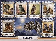 Guinea-Bissau 2016 Mnh Owls 6v M/S Birds Abyssinian Black White Fish Owl Stamps