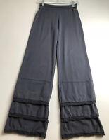 Matilda Jane Women's Gray Pants Small S Multi Tier Stretch Foldover Waistband