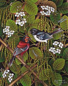 Hand painting Balinese Sparrow Birds 307