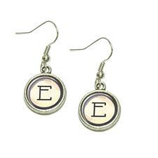 Letter E Typewriter Key  Dangling Drop Charm Earrings