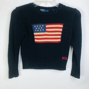 Polo Ralph Lauren Toddler Kids Size 4 Blue American Flag Cotton Pullover Sweater