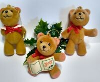 Vintage FLOCKED Christmas Ornaments TEDDY BEARS lot of 3