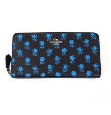COACH 53942 Midnight BLUE Badlands FLORAL Zip Around Accordion Leather Wallet NW
