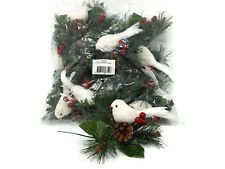12 x Christmas White Bird & Berries Snow Pick with Pine Cone 18cm