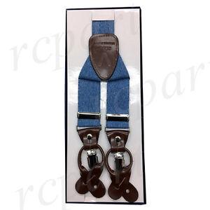 New in box Men's convertible suspender Denim blue elastic braces casual formal