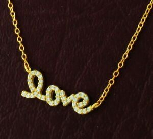 """WHITE SAPPHIRES """"LOVE"""" NECKLACE .925 Sterling Silver ** NEW WITH TAG**"""