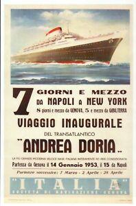 Andrea Doria Napoli to New York, Ad Ocean Liner Ship Ad Naples - Modern Postcard
