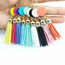Personalized Enamel Disc Blank Leather Tassel Pendant Necklaces Gift For Women