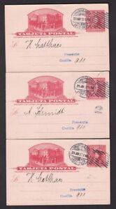 Chile Deutscher Turnverein 2c illustrated stationery x3 used 1912 Valparaiso