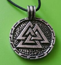 Viking Valknut Disc Pewter Pendant  Necklace -  Hand Made - Norse God - Thor