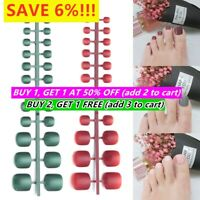 24pcs Acrylic Full Cover False Artificial Toe Nails Tips Nail Art Accessories~