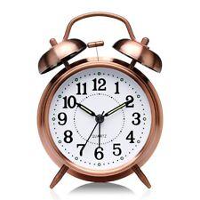 Alarm Clock Bell Twin Analog Loud Quartz Silent New Metal Vintage Retro Bronze