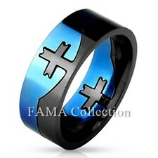 FAMA 8mm Stainless Steel Cross Center Blue & Black 2-Tone Puzzle Ring Size 9-13
