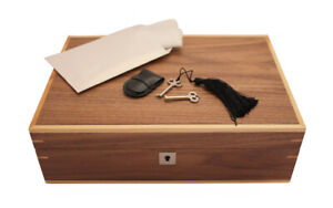 NEW 10 WATCH WALNUT STORAGE BOX CASE CHEST LOCKABLE 2 KEYS CLEANING CLOTH