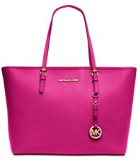 Michael Kors Top-Zip Large Tote  Saffiano Leather Color Raspberry Gold Hardware
