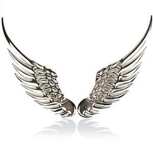 3D Angel Hawk Wings Car Pair Chrome Metal Silver Emblem Sticker Decor Logo