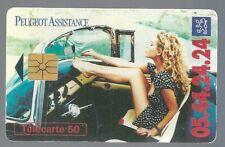 Télécarte carte téléphonique 50 Peugeot assistance pin up mini jupe sexy jambes