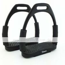 Neu Caballi Curve Schwarz Matt Sicherheitssteigbügel mit Gelenk super flexibel