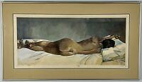 Vintage Original 1989 Watercolor Reclining Nude by B. Zyprel