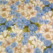Blue, Cream & Soft Brown Floral, Cotton Fabric by SSI, Per Yd